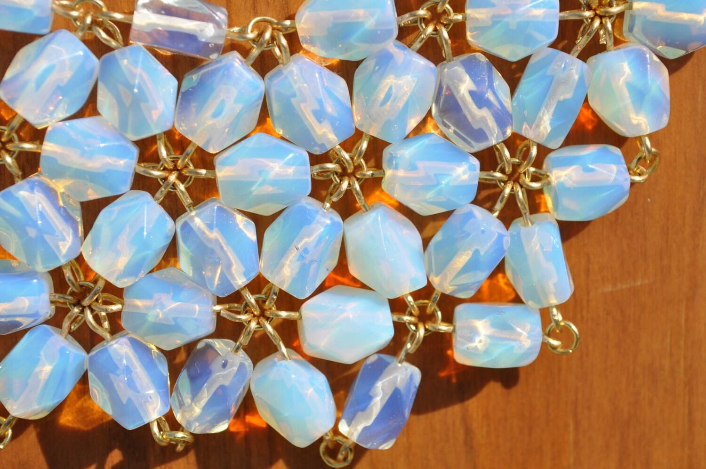 White Glass Bead Bib Necklace
