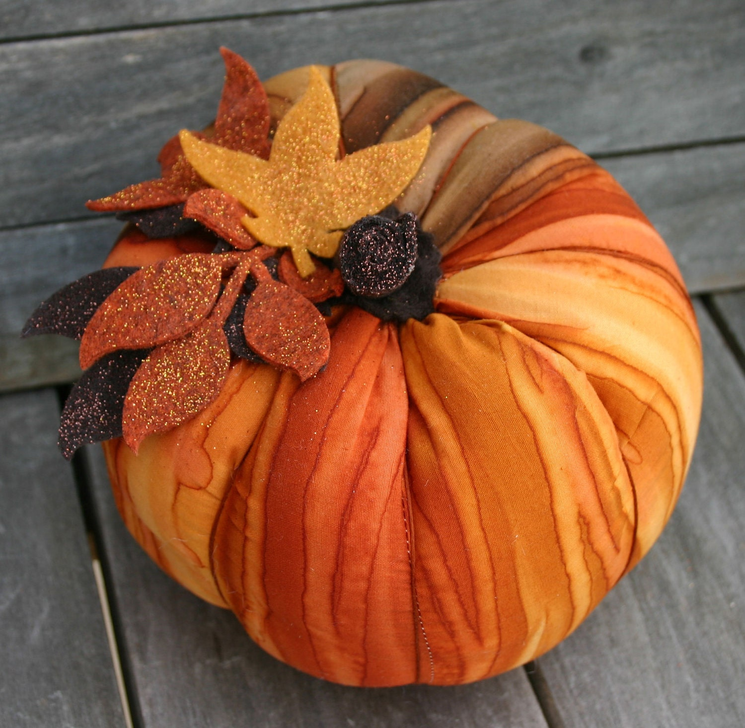 Autumn Orange Plush Pumpkin--Halloween, Thanksgiving - BloomAndBarnacle