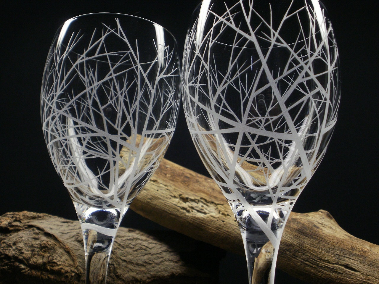 2 Red Wine Glasses Hand Engraved 'Reaching by daydreemdesigns