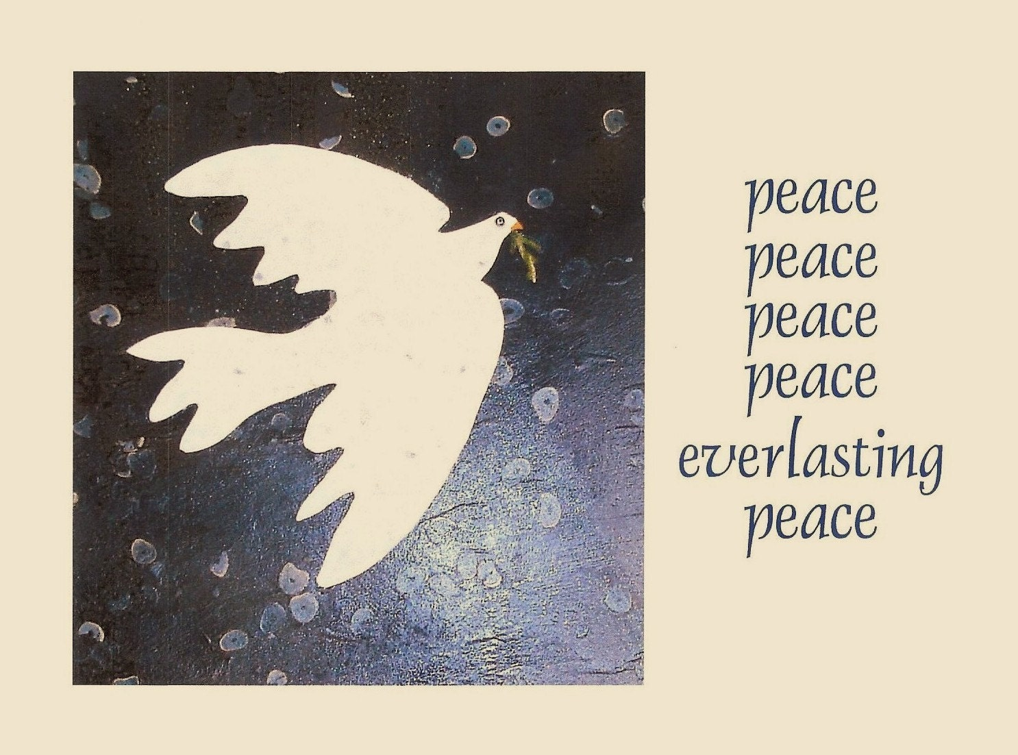 Holiday cards - 20 cards - PEACE, Peace, Everlasting Peace--also available in other quantities