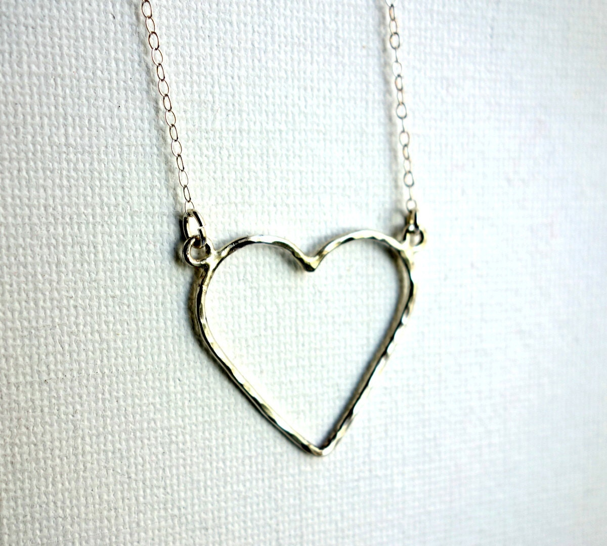 Open Hearts Necklace on Sterling Silver Open Heart Necklace By  title=