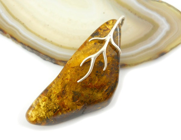 Natural Baltic amber pendant - 36x15mm - Unique
