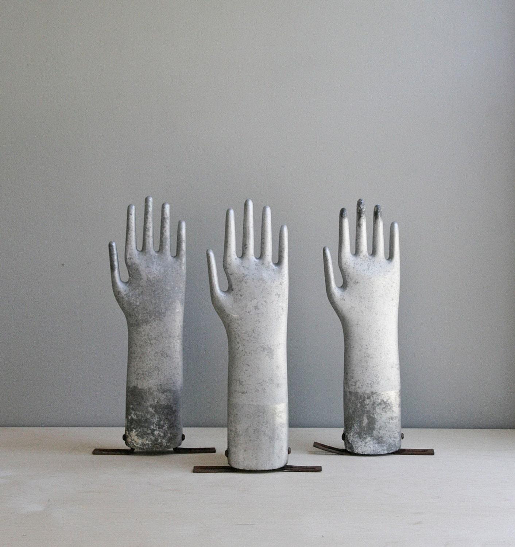 vintage industrial aluminum glove mold - ohalbatross