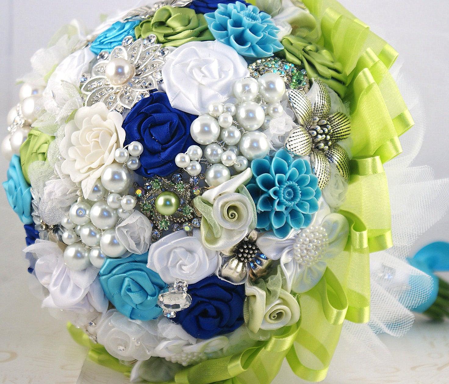 Брошь Букет Букет невесты в бирюзовый, зеленый лайм, синий и белый