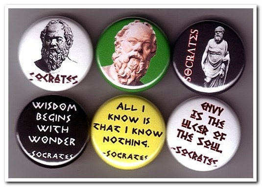 SOCRATES buttons pins badges philosophy, greek, plato, aristotle, philosopher