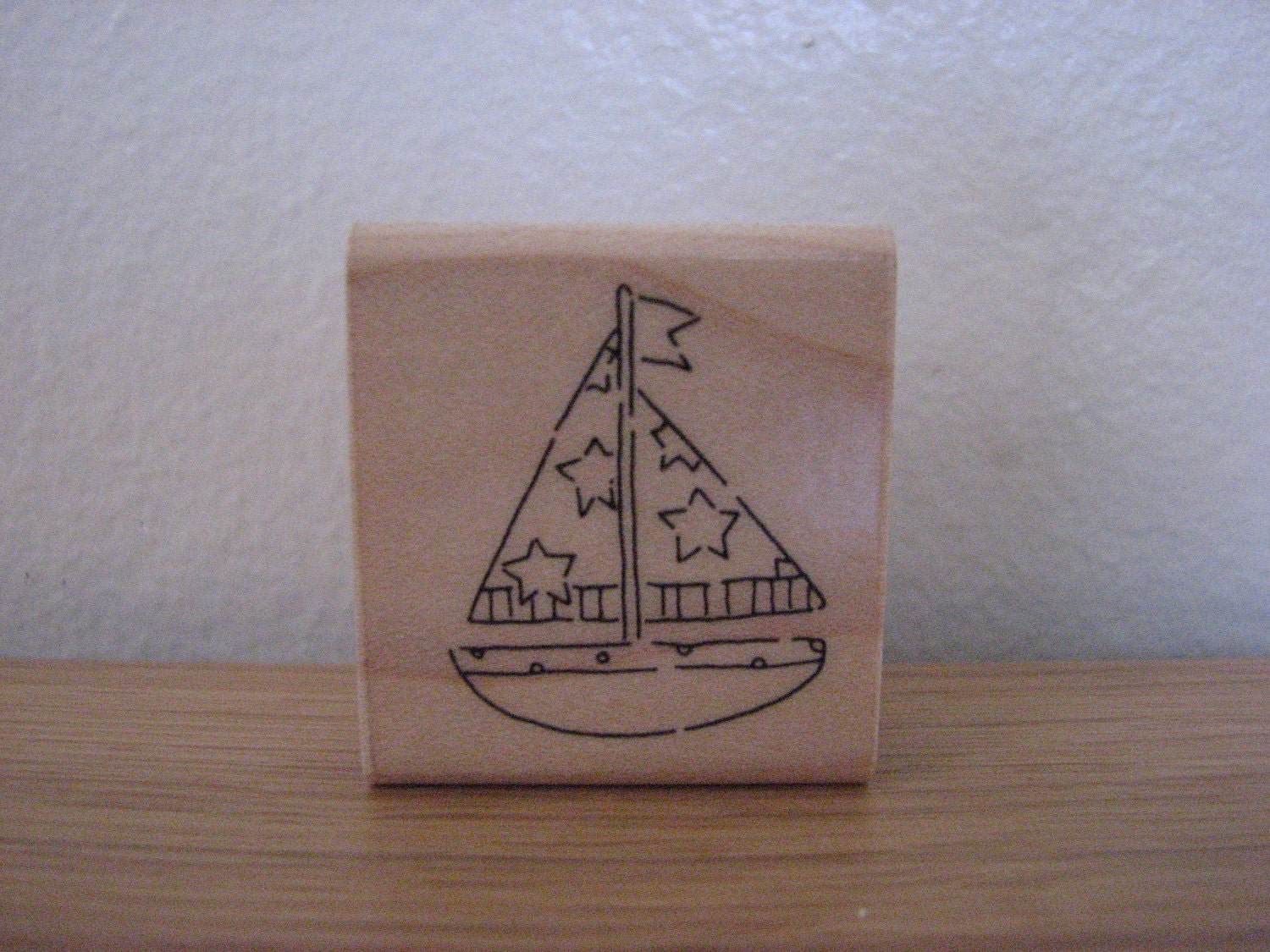 Sailboat Rubber Stamp with Stars