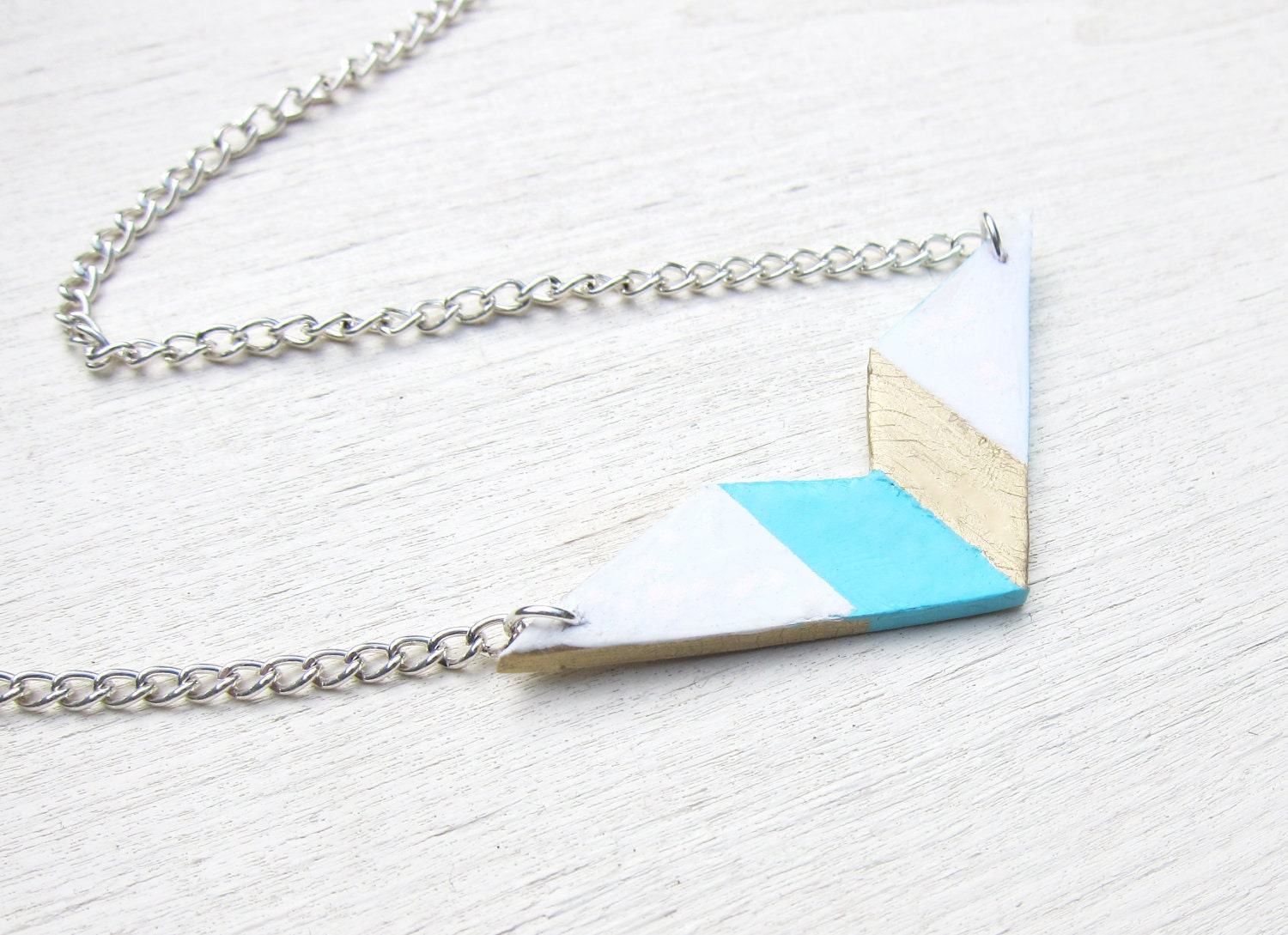 Aztec Triangle Necklace (Turquoise/Gold)