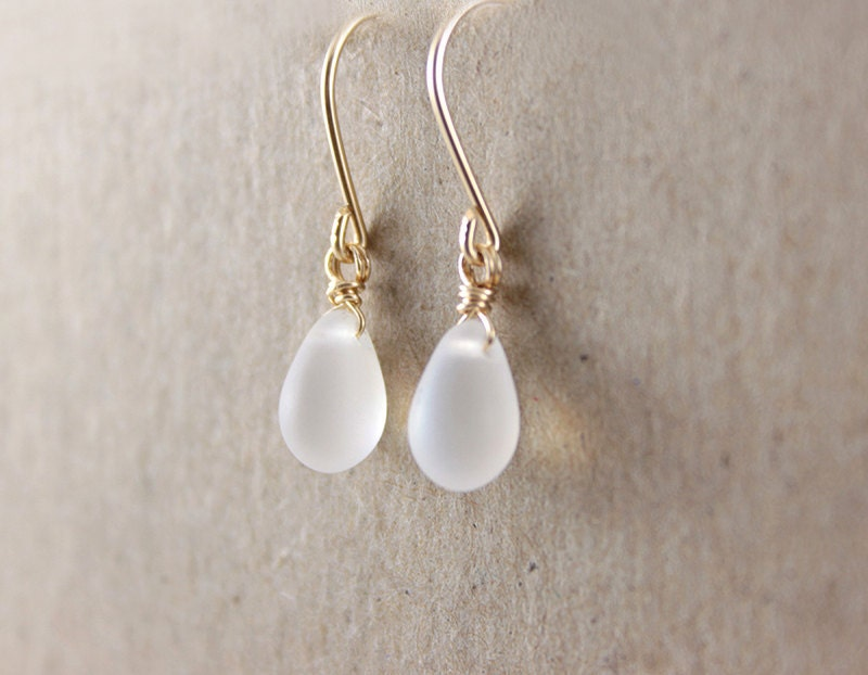 Tiny Dangle Earrings - simple tiny white droplet on 14k gold filled ear wires by petitor