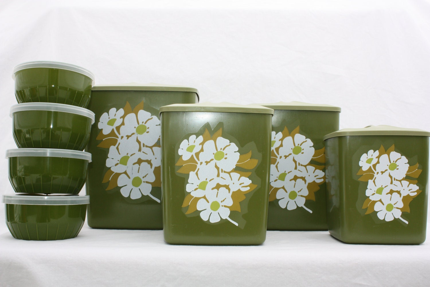 green kitchen canisters lime green glass jar vintage kitchen canister jar l by