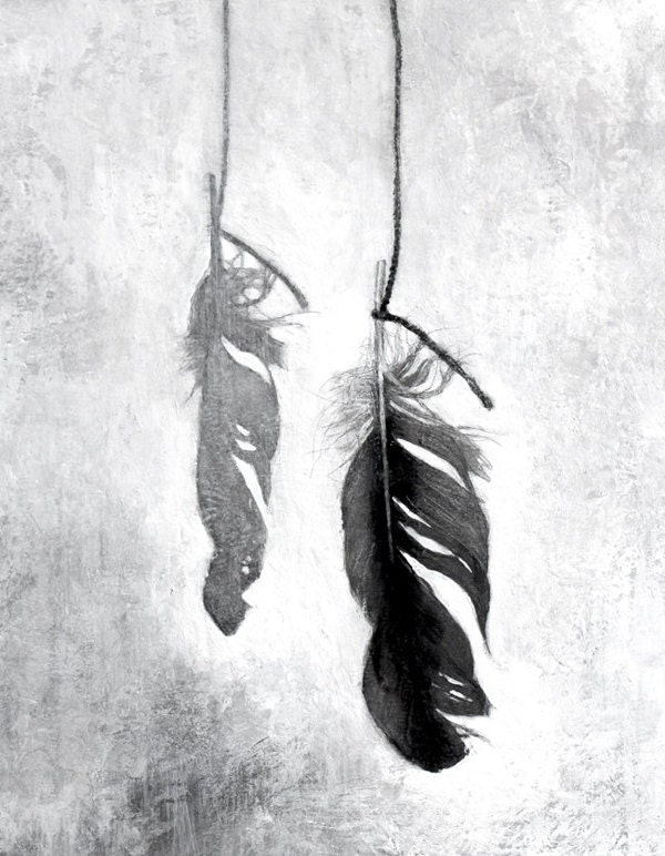 Found feather black and white still life reproduction from painting - TheHauntedHollowTree