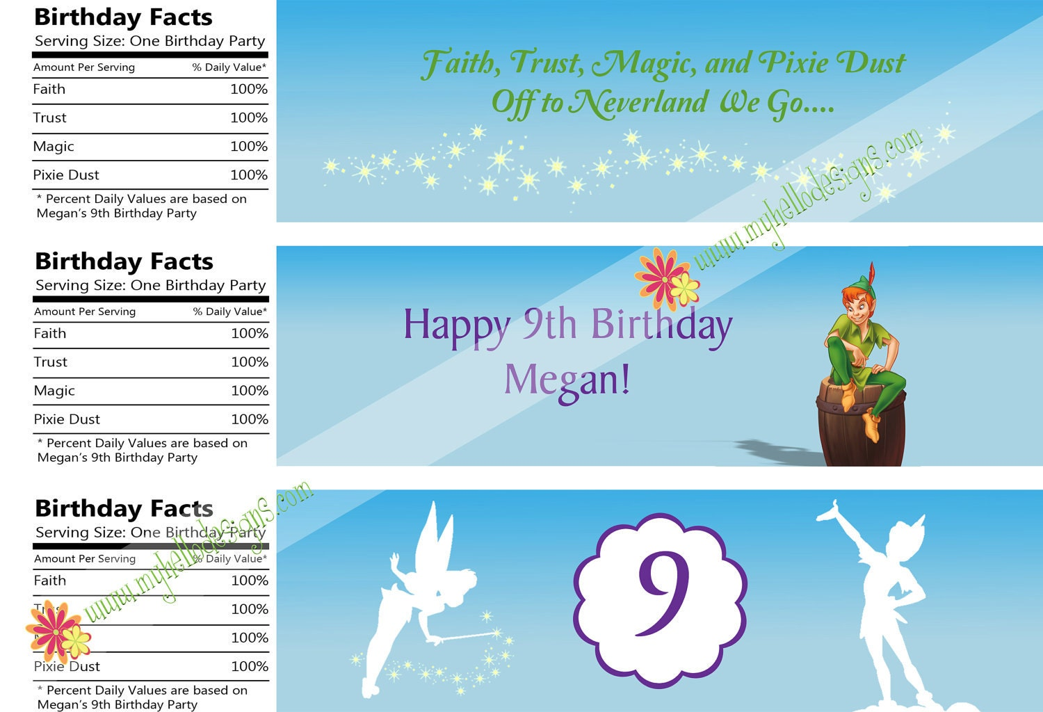 Water Bottle Labels: Peter Pan & Tinkerbell