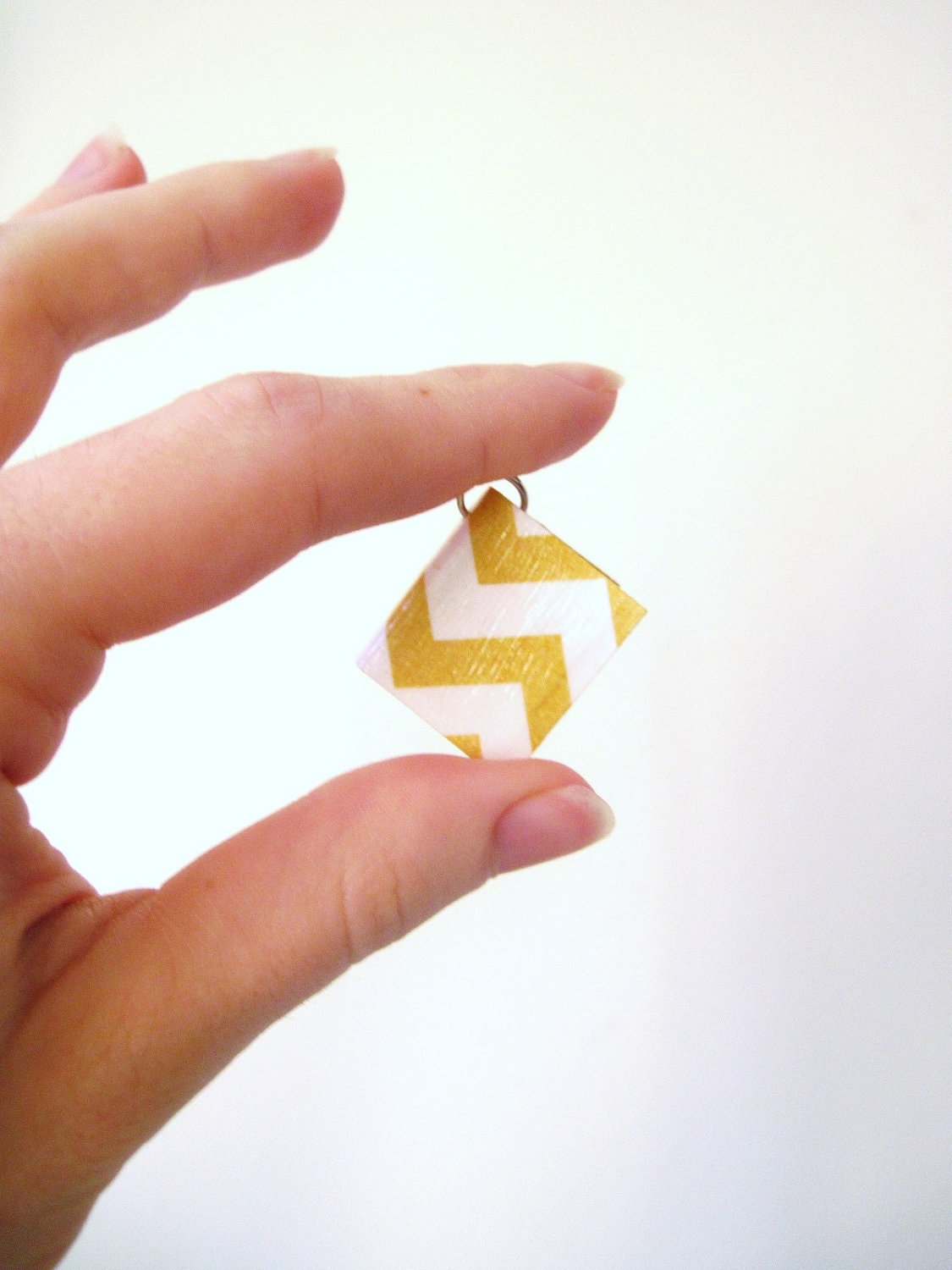 Chevron Book Pendant, Miniature Book Pendant Yellow Chevrons