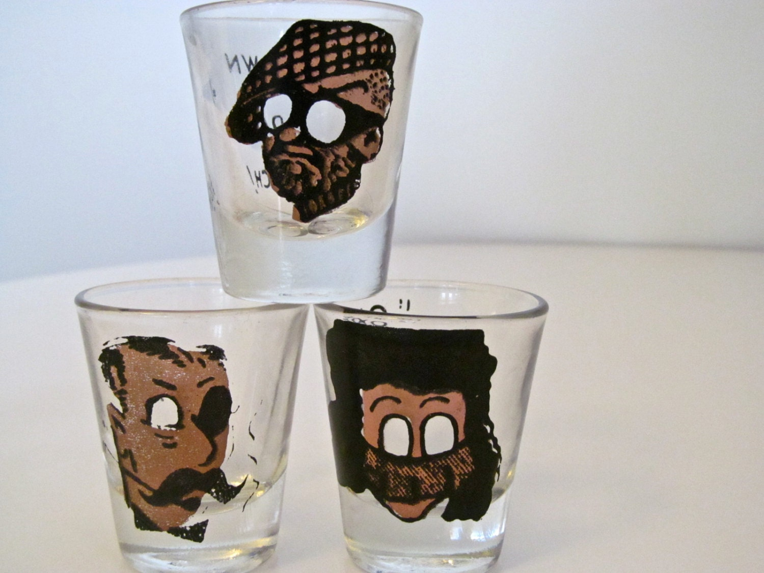 "3 Mid Century Anchor Hocking shot Glasses ""Down Da Hatch"" ""One is My Limit"" - Vintage Barware"