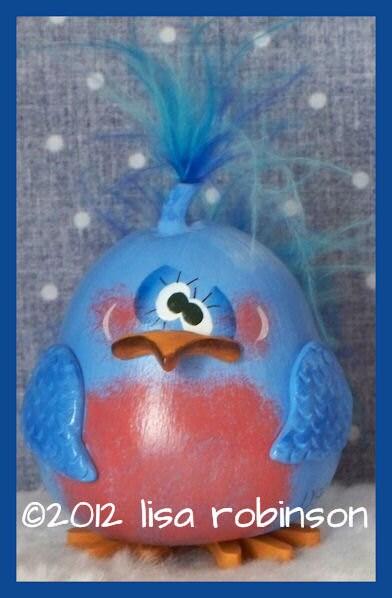 hand painted bluebird GOURD prim chick hp bird ofg KAUKAU - primchick