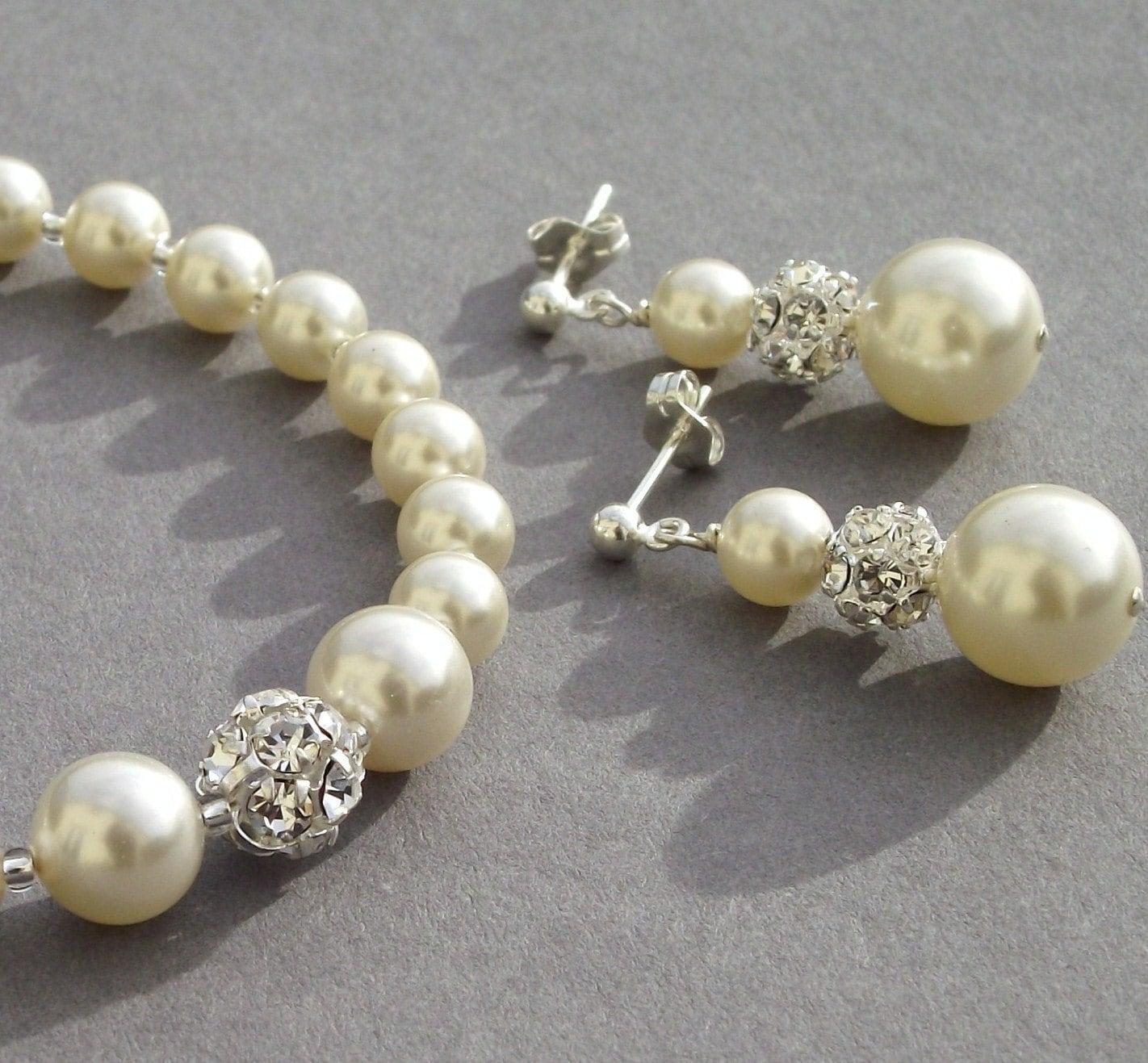 Bridal Pearl Bracelet and Earring Set