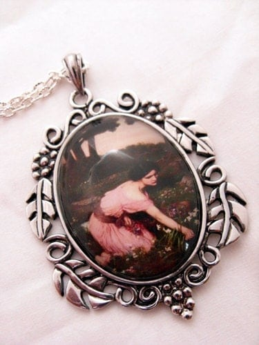 Pendant necklace - John Waterhouse spring flowers cabachon, girl in pink dress, antique silver leaves setting - DabHands