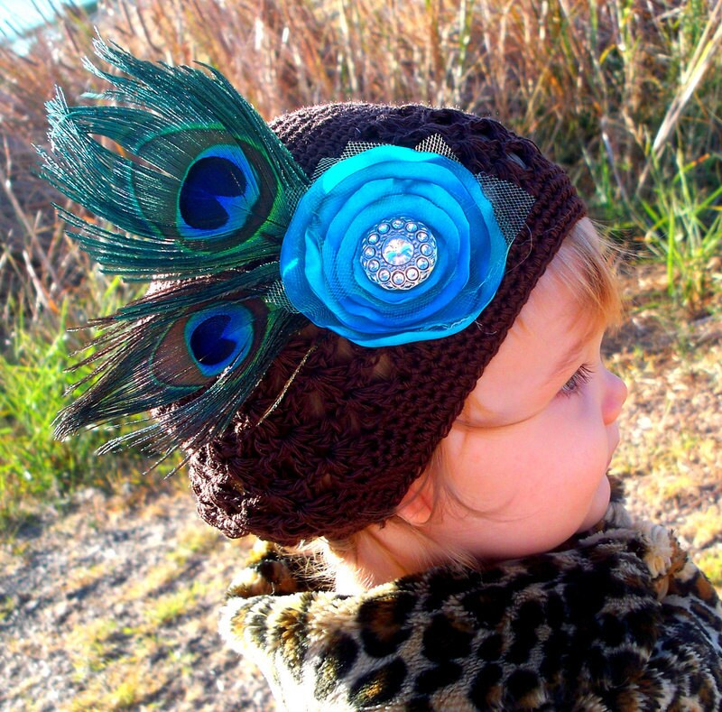 Peacock Feather BROOCH or HAIR CLIP Fascinator Turquoise Satin Flower ... Couture Accesory