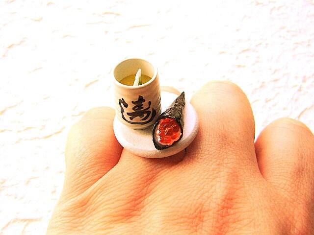 Sushi Food Ring Green Tea