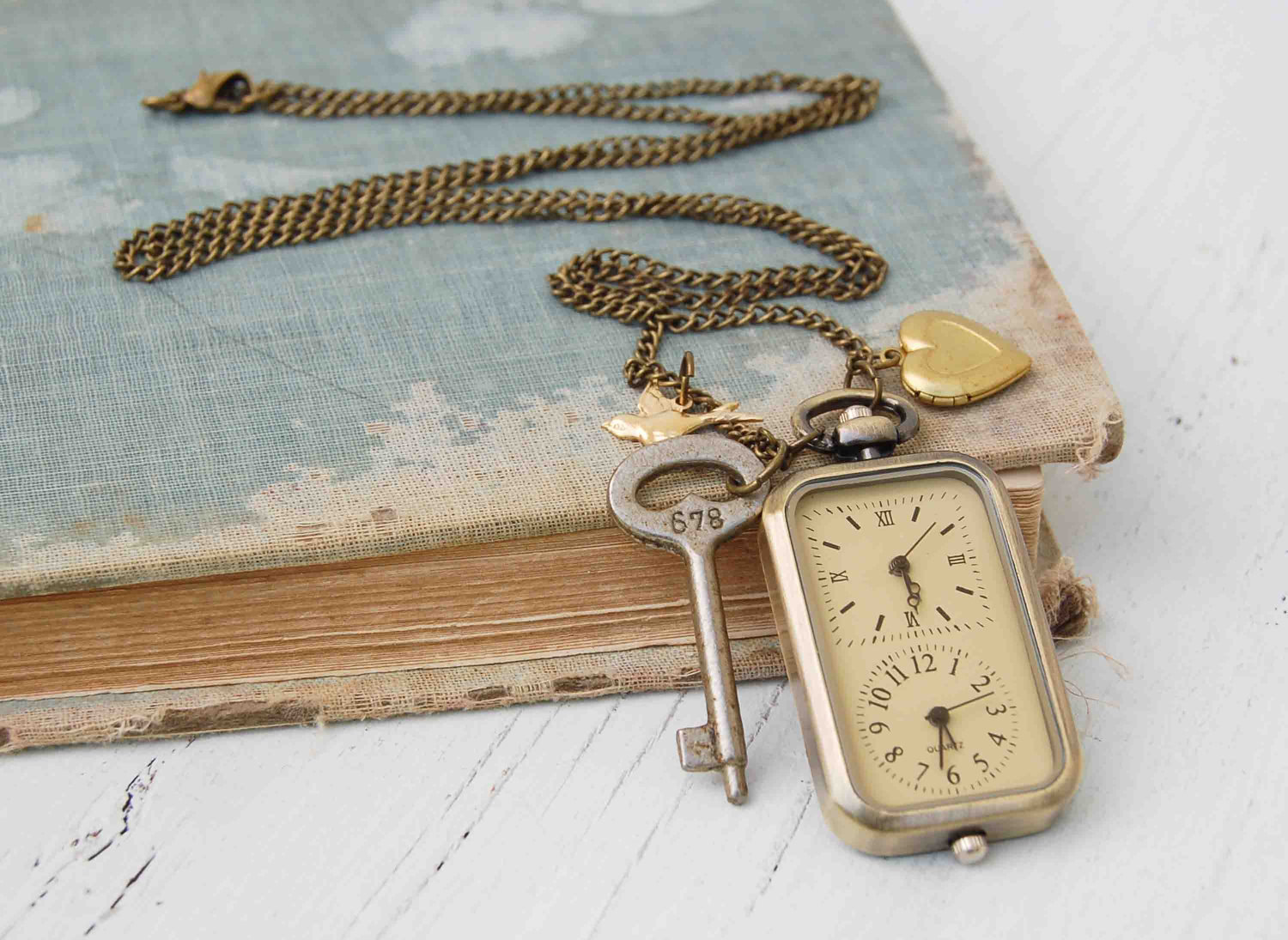 Long Distance LOVERS WATCH Pendant Love Heart Locket Key - redtruckdesigns