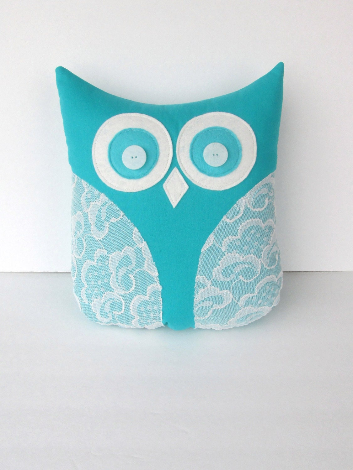 decorative owl pillow teal turquoise blue by whimsysweetwhimsy