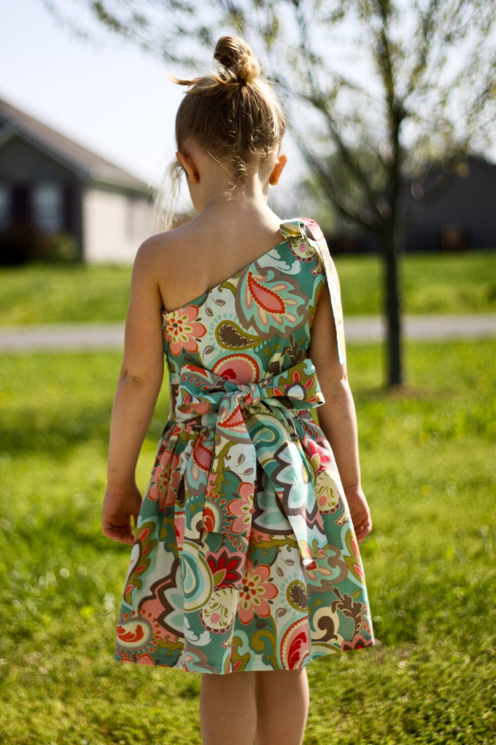 Little Girl Dress Custom Boutique, Ruffled One Shoulder Dress --Paisley, Floral Teal Girl's Dress Size 4 5 6