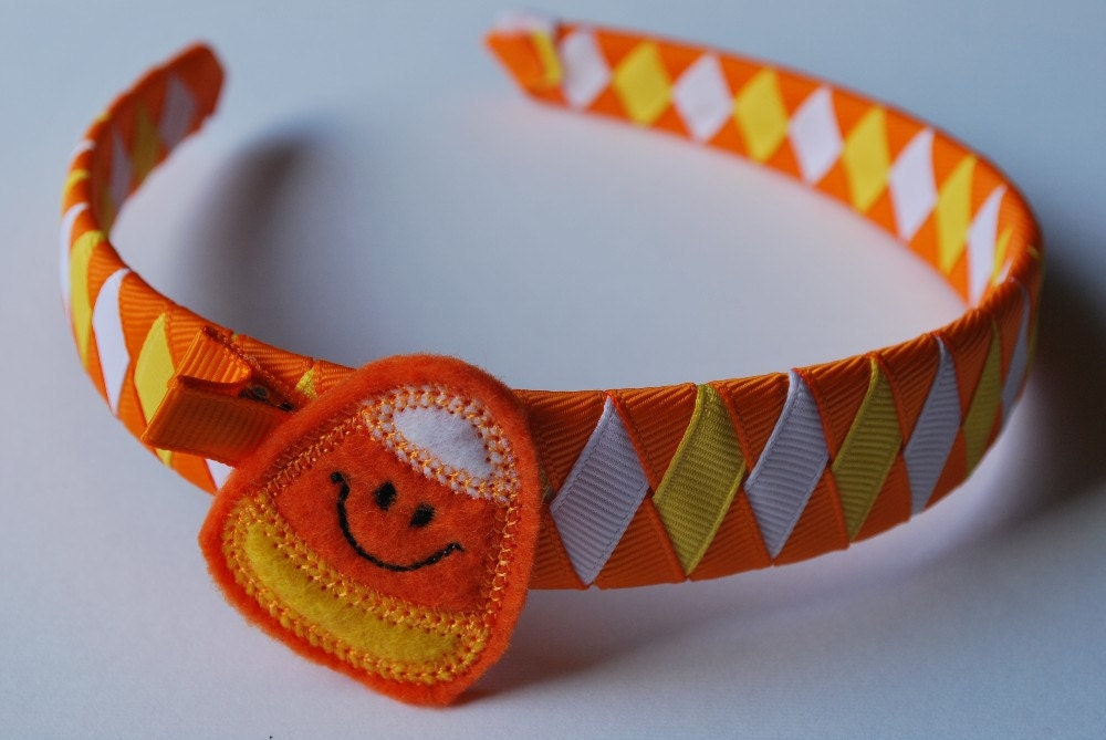 Halloween Headband Clippie Set Candy Corn