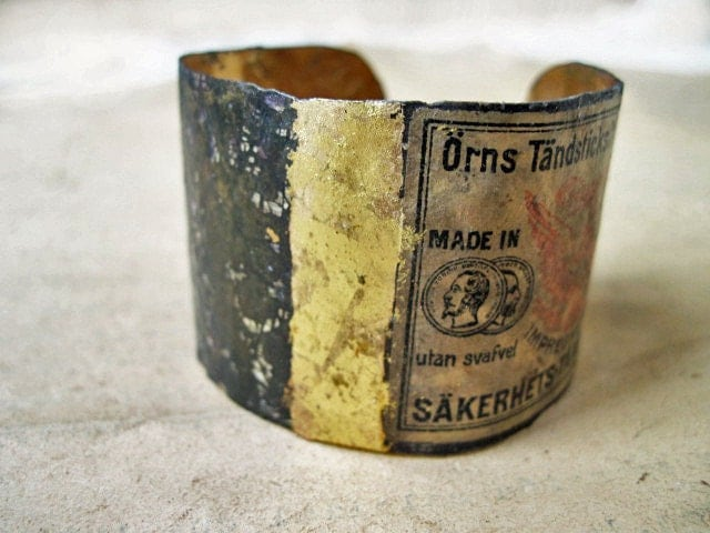 The Describable Universe. Recycled Rustic Tea Tin Cuff with Gold Gilding.