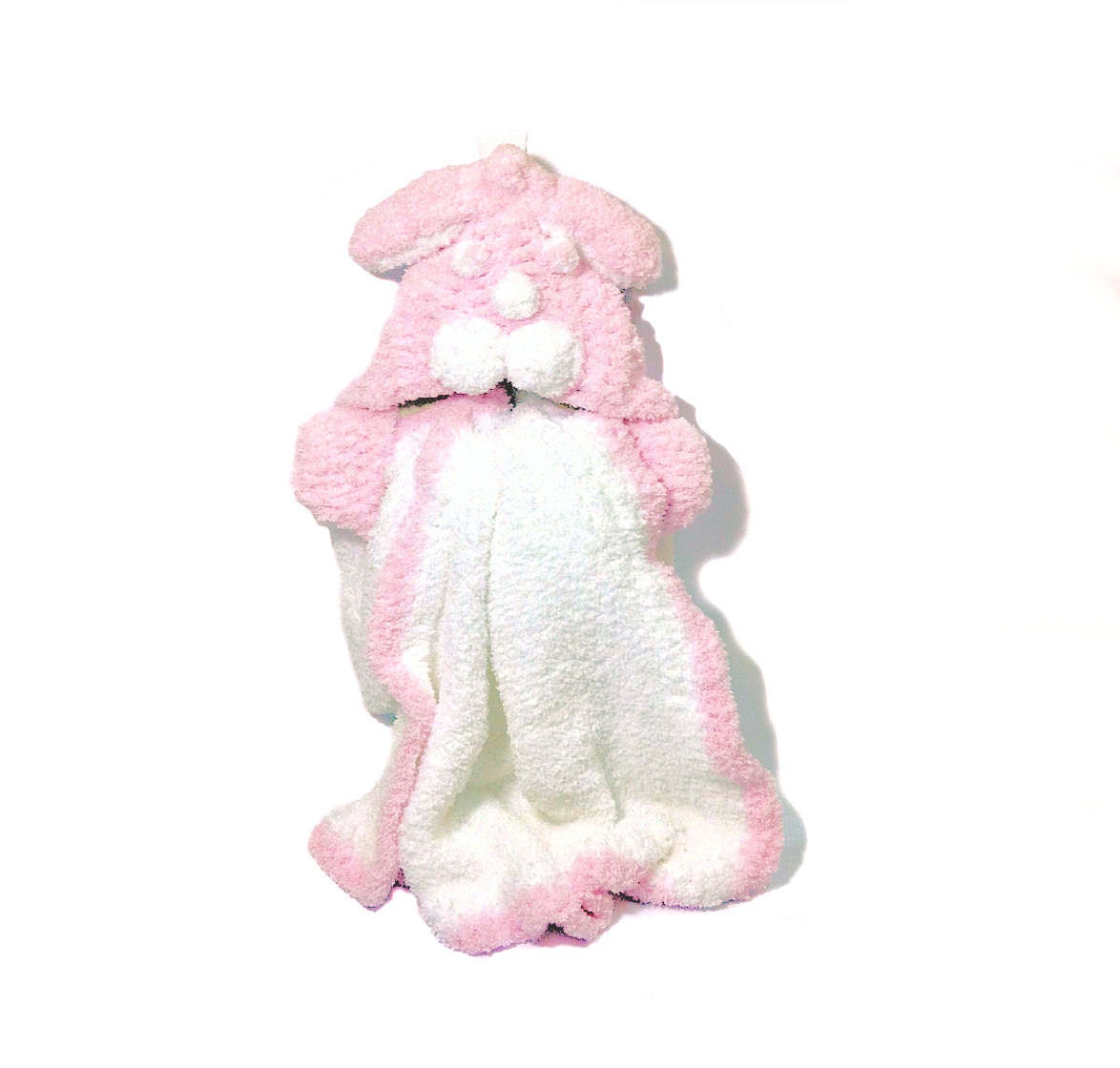 Hand Knit Hooded Blanket Bunny Intarsia -White Pink - bayahta