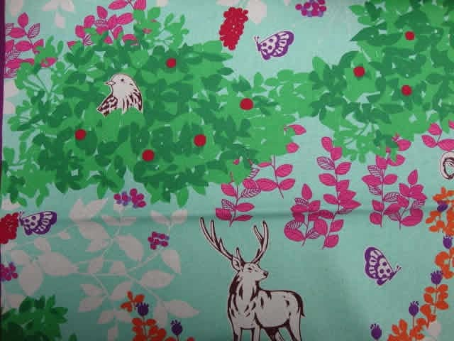 Echino by Etsuko Furuyo, Japanese Cotton Linen Canvas, Woodland Deer in Aqua, 1 yard