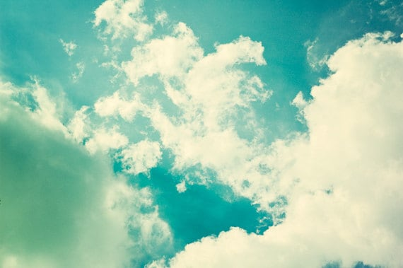 Cloud Photography - sky turquoise retro vintage teal aqua - white cream blue green photo picture - baby nursery art print - 8x12 Photograph - CarolynCochrane