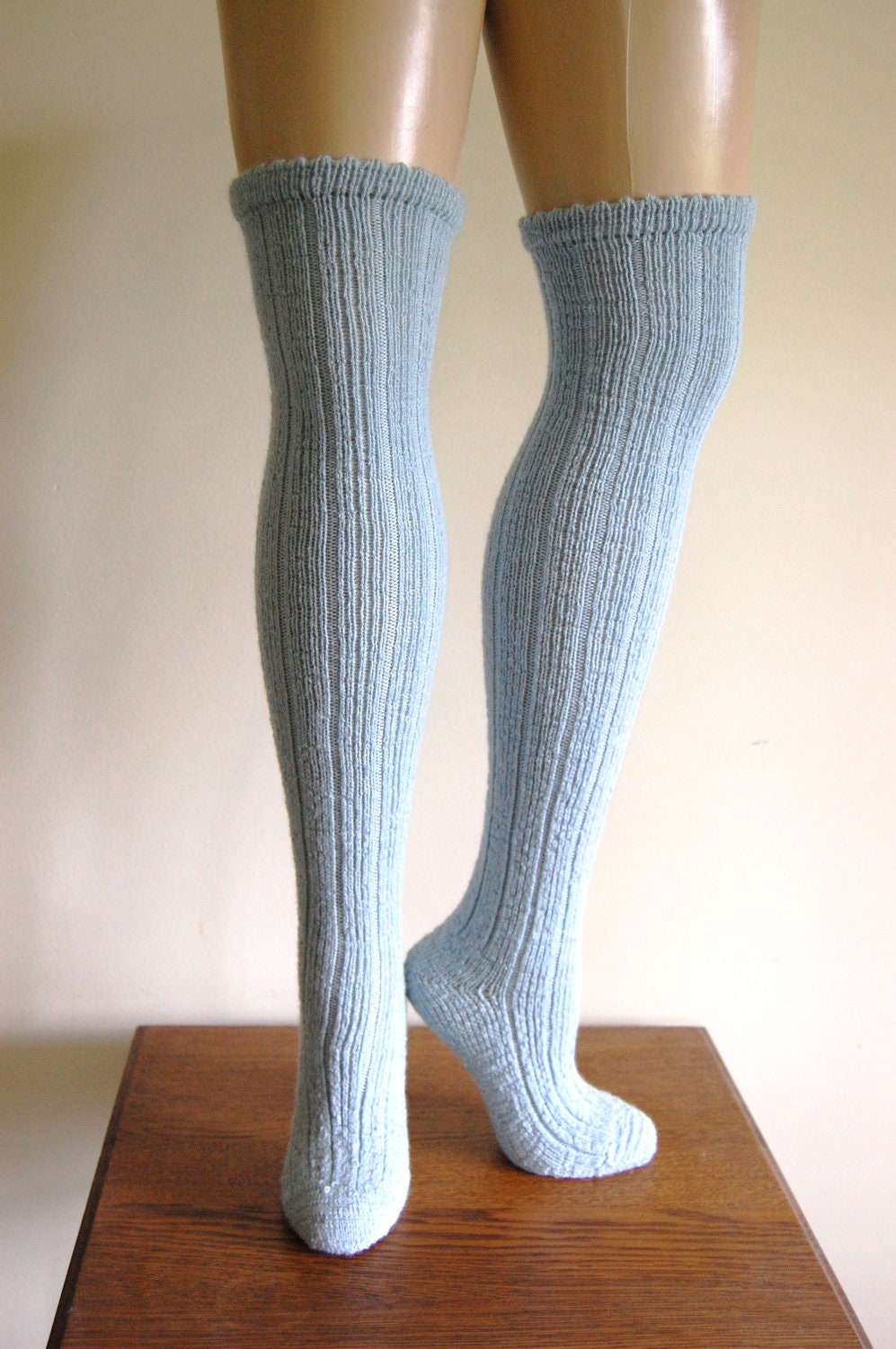 Handknit Ice Blue Wool Ribbed Over The Knee Socks - C3L35T3