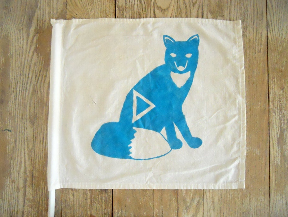Vintage Camp Cabin Flag - Sly Fox in Turquoise Blue - NellieFellow