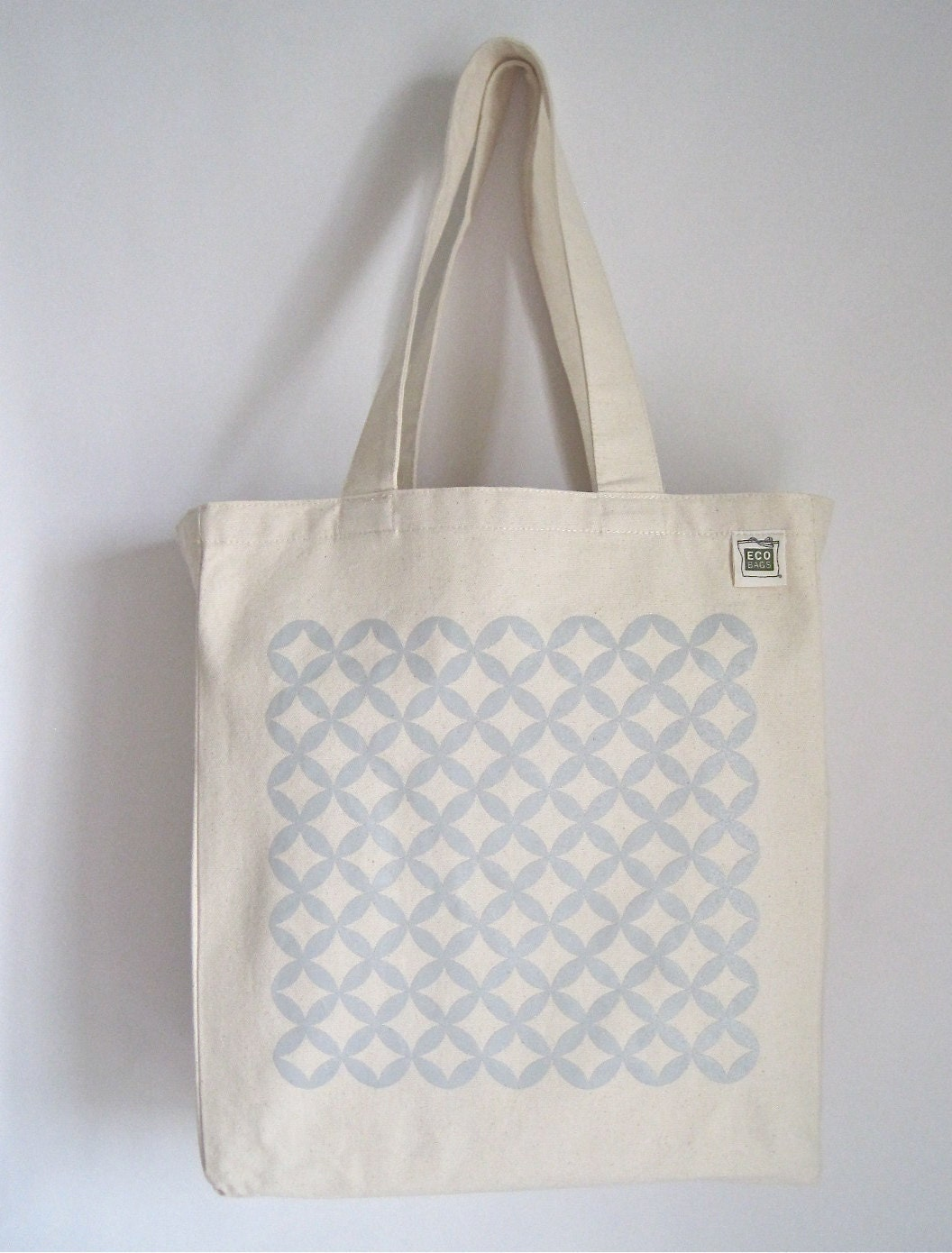 SALE - Eco Canvas Tote - Light Grey Lattice