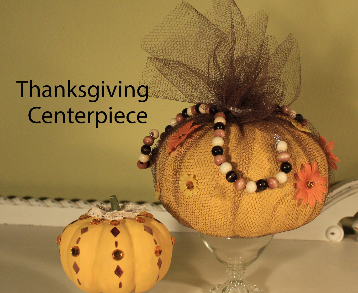 Two Thanksgiving pumpkins in a shabby chic style, shabby chic centerpiece, cottage chic Halloween, shabby chic Thanksgiving, lace and beads - SugarNotes