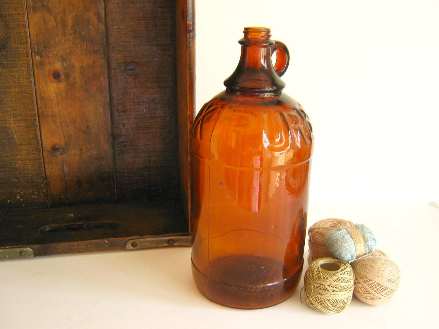 Purex Bleach Bottle Jug Amber Antique 1930s Autumn Home