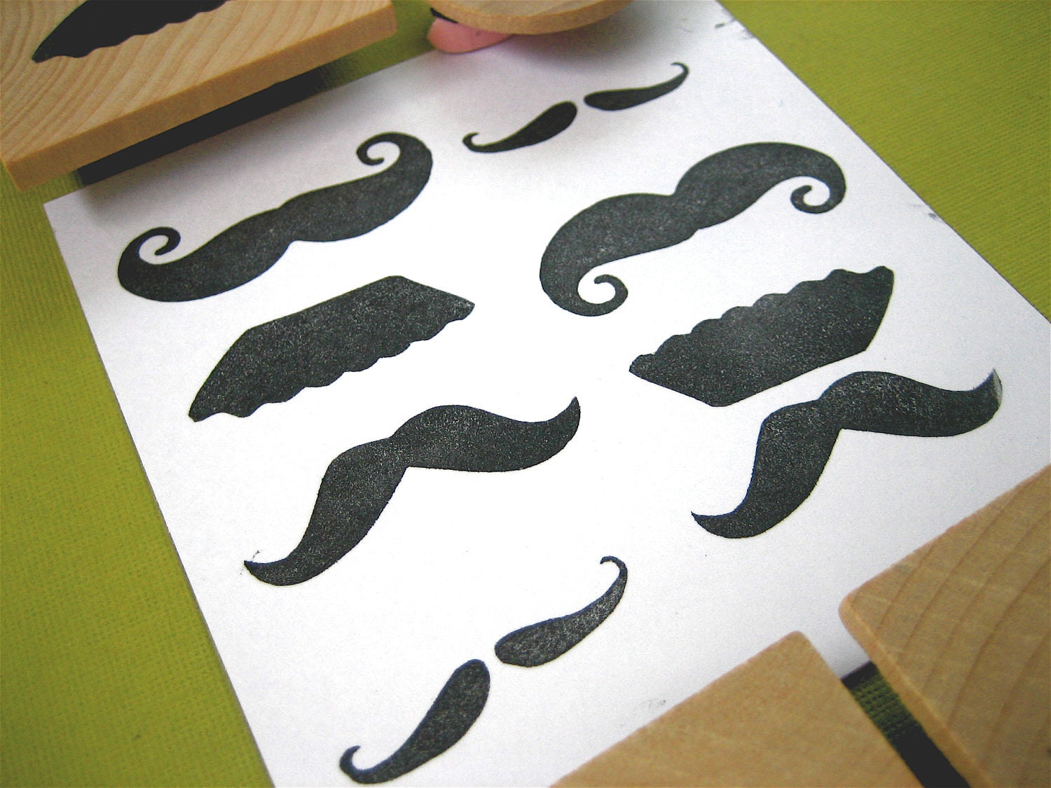Mustache Rubber Stamp Set, Hand Carved Set of Four 4