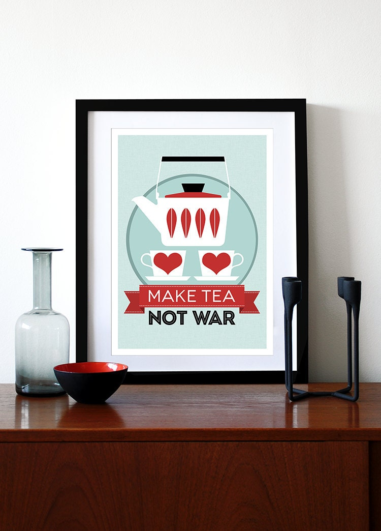 Kitchen art Catherineholm poster print - Make Tea Not War - A3 red Mid Century Modern retro kitchen tea