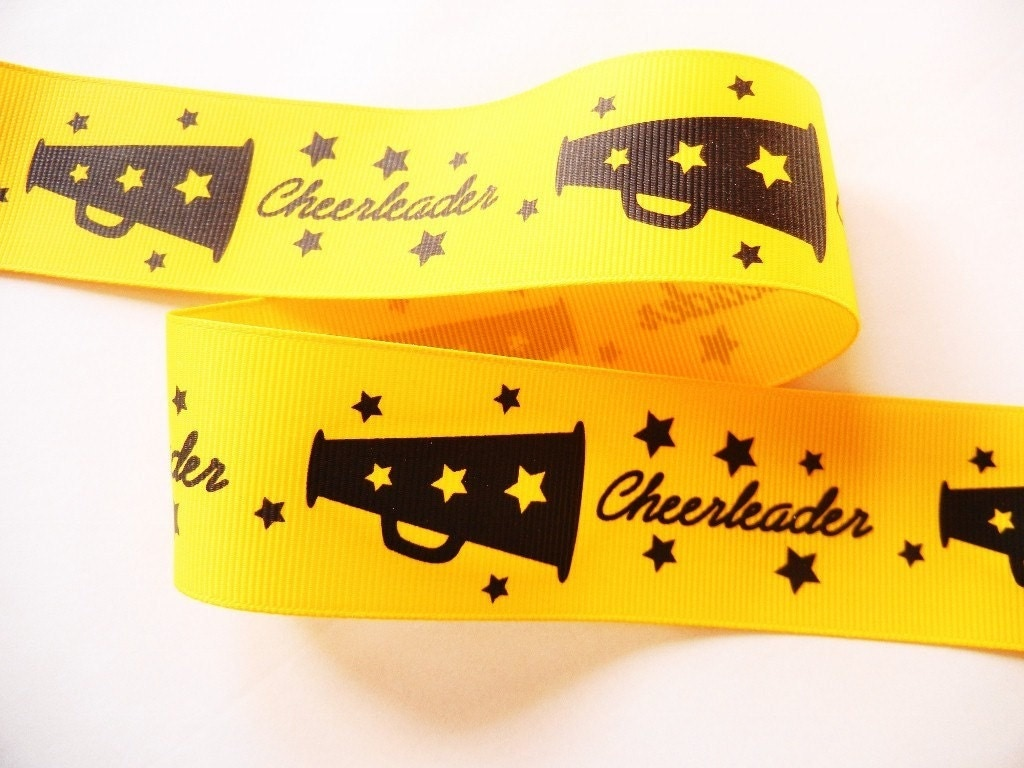 3 yards 1-1/2 inch Cheerleader Yellow with Black Grosgrain Ribbon - High Quality - HairbowSuppliesEtc