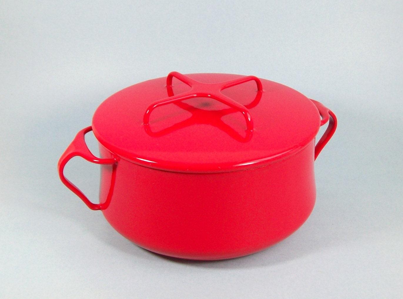 Vintage Dansk Kobenstyle Red Casserole Dutch Oven Pot - 2 Qt - Iconic Jens Quistgaard Design - Mid Century Danish Modern