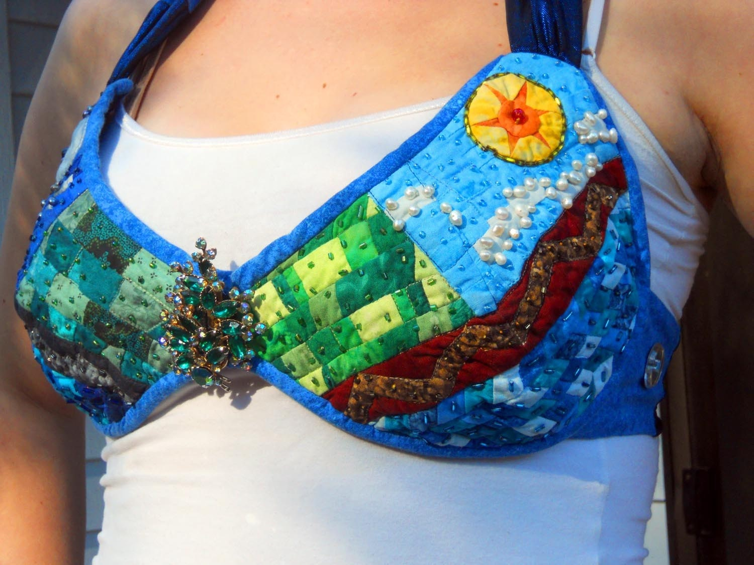Wearable Art - Night and Day Halter Top - MooseCarolQuilts