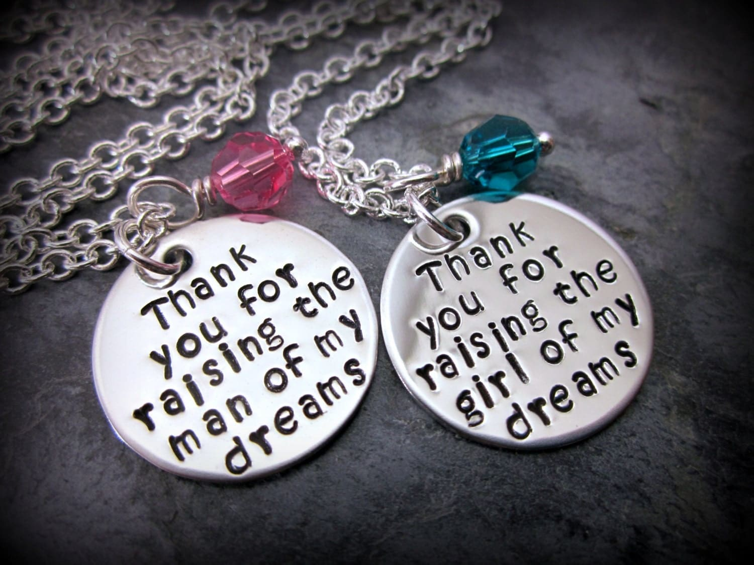 Thank you for raising the man / girl of my dreams SET -  Mothers of the Bride and Groom Necklaces PERSONALIZED