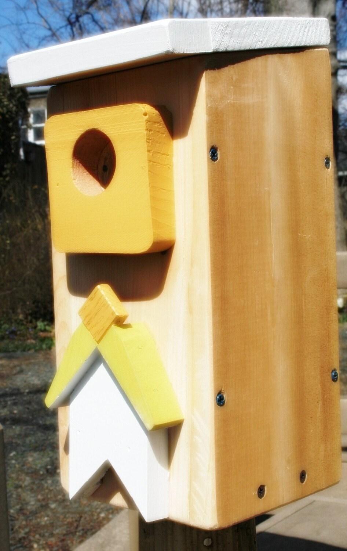 Upcycled Reclaimed Bird House / Nest Box for Woodpecker Bluebird, Chickadee, Nuthatch, Titmouse or Carolina Wrens, bird,  wall decor