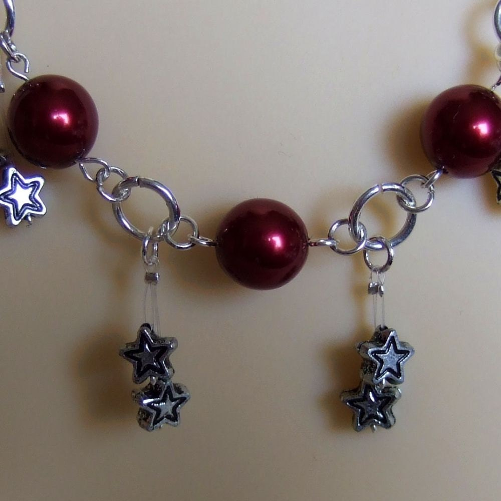 Dark Red Glass pearls Metallic Star Dangles, Silver rings Necklace Star Trails