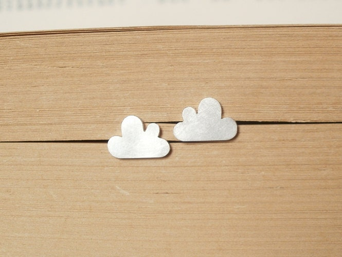 lucky happy cloud earring studs in sterling silver (size small), handmade in beautiful Cornwall, UK