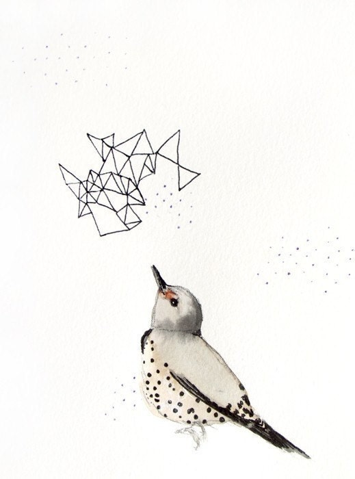 SALE 20% Off - Bird Print - Illustration - Northern Flicker - 5x7 Giclee Print - Ink - Drawing - Watercolor Painting - MaiAutumn