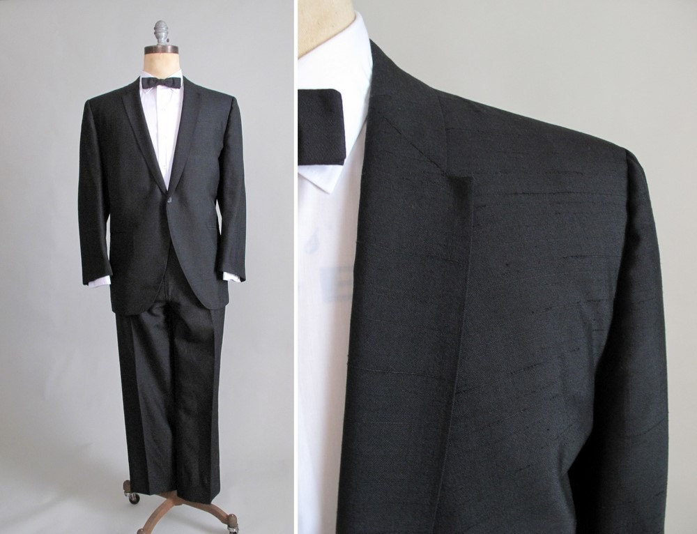 Vintage 1960s Tuxedo : 60s Mad Men Black Tux