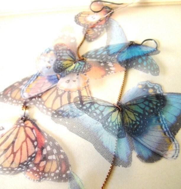 Длинные серьги бабочки - Трансфер на органза-выписка часть