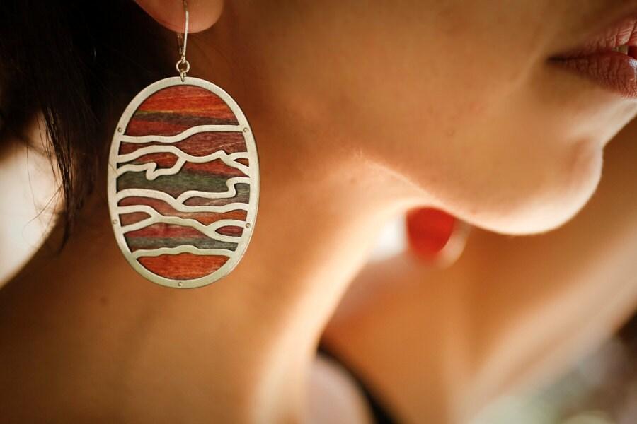 Desert Scape Earrings // Dyed wood and steel - scarlettgarnet