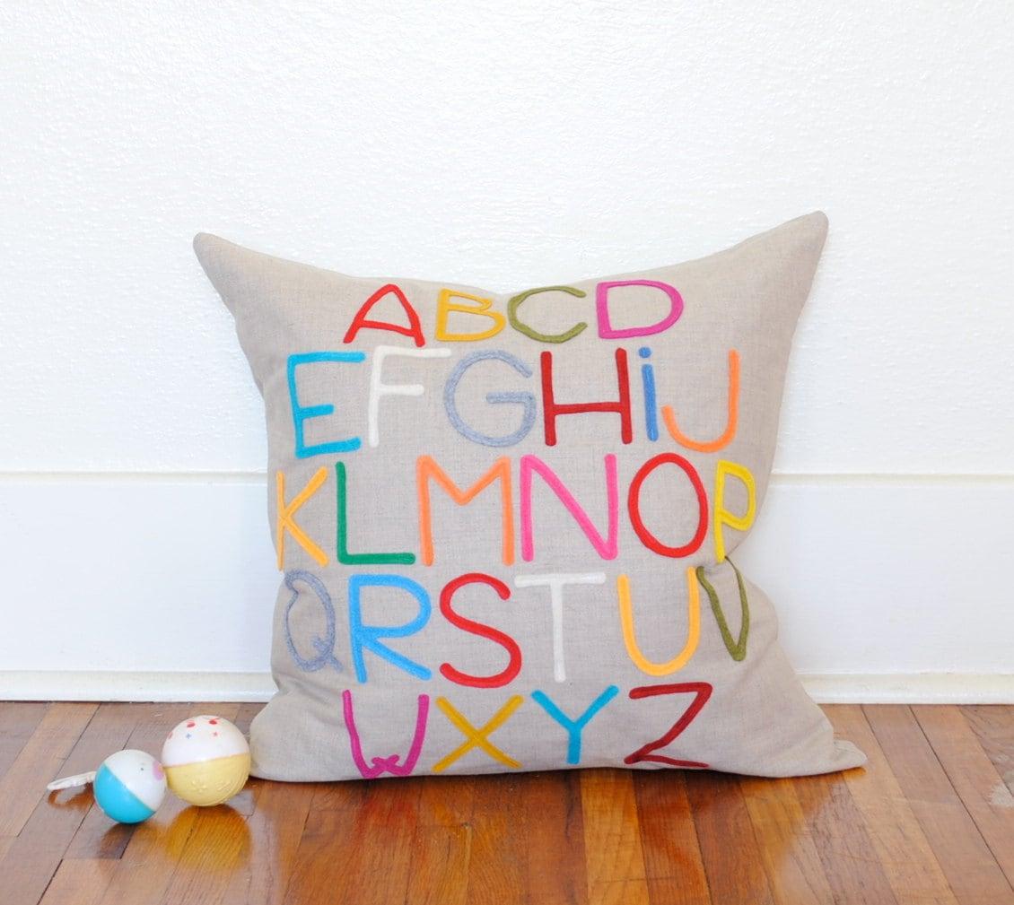 Modern Abc Alphabet Pillow - Linen and Felt - by Pillow Factory