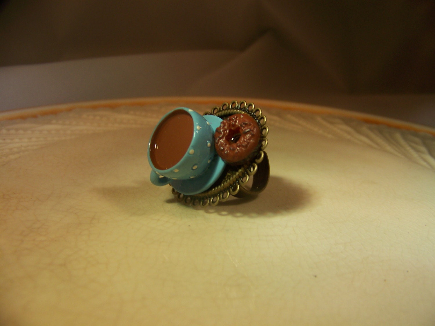 Coffee and Donuts on a Platter ring from Etsy